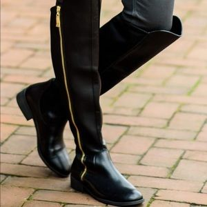 Christian Sirano Over the Knee Black Leather Boots